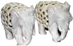 Pooja Creation Marble Pair Elephant With Beautiful Design And Lots Of Color