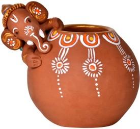 ExclusiveLane Handpainted Baby Ganesha Rolling on The Matki Showpiece  -  10 cm