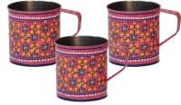 ECraftIndia Handpainted Decorative Stainless Steel Mug (180 Ml, Pack Of 3) - MUGEGCAQRTURUHZX