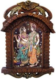 Shree Sai Handicraft Unique Decorative Radha Krishna Playing Flute Wooden Jharokha Gift Showpiece  -  12 cm