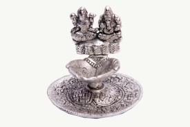 Satya Vipal Oxidized White Metal Ganesh Ji And Lakshmi Ji With Attached Diya Showpiece - 10 cm
