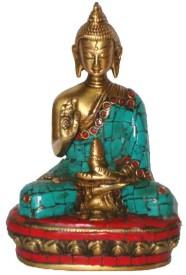 HeritageDezire BUDDHA B/HAND GOLDEN W/STONE WORK Showpiece  -  4.5 cm