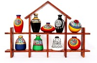 Indikala Hut Shaped Frame Unit With Nine Elegant Pots Wooden Wall Shelf (Multicolor)