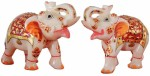 Pooja Creation Marble Pair Elephant With Beautiful Design And Color In Piece Of Jodi