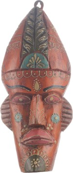 Apkamart Tribal Mask Orange Colour 12 Inch