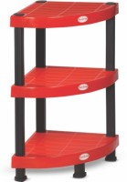 Surprise HEAVY DUTY CORNER SHELF Plastic Corner Table (Finish Color - Red)