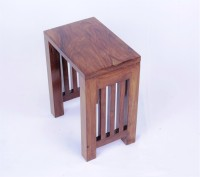 Mubell Dabisk Small Solid Wood Side Table (Finish Color - Teak Wood Brown)