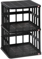 Surprise Heavy Duty Book Shelf 2stage Plastic Bedside Table (Finish Color - Black)