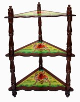 Lal Haveli Rajasthani Beautiful Home Decorative Bed Side Table Solid Wood Bedside Table (Finish Color - Multicolor)