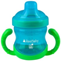 ReeBaby Sippy Cup With Soft Silicone Spout (Blue, Green)
