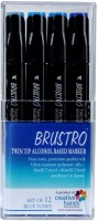 Brustro Twin Tip Alcohol Based Marker A Fineliner And A Chiseltip Nib Sketch Pens (Set Of 12, Blue Tones)