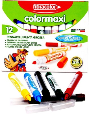 Fibracolor Color Maxi Fine Nib Sketch Pens  With Washable Ink (Set Of 1, Multicolor)