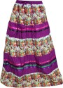 Indiatrendzs Floral Print Women's A-line Purple, White Skirt