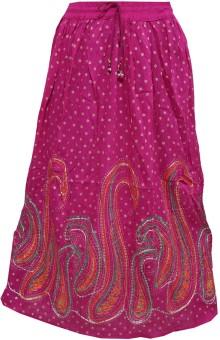Indiatrendzs Printed Women's A-line Pink Skirt