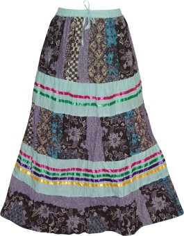 Indiatrendzs Floral Print Women's A-line Purple, Green Skirt