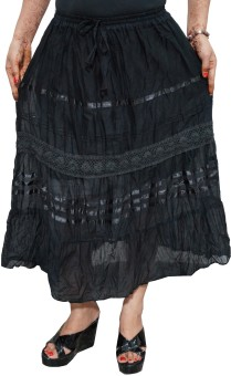 Indiatrendzs Solid Women's A-line Black Skirt