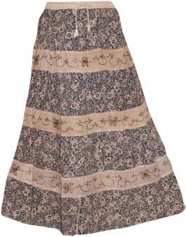 Indiatrendzs Floral Print Women's A-line Beige Skirt