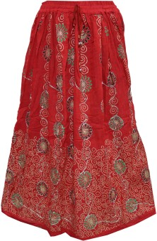 Indiatrendzs Printed Women's A-line Red Skirt