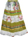 Indiatrendzs Printed Women's A-line White, Green Skirt