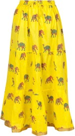 Amore@Home Printed Women's Pencil Yellow Skirt