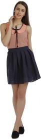 Holidae Solid Women's Regular Dark Blue Skirt