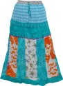 Indiatrendzs Printed Women's A-line Blue Skirt