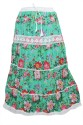 Indiatrendzs Printed Women's A-line Green Skirt