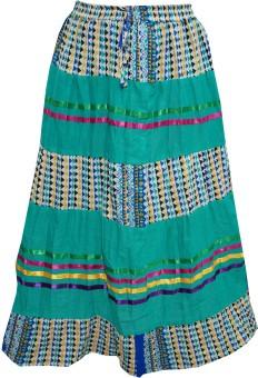 Indiatrendzs Printed Women's A-line Green Skirt