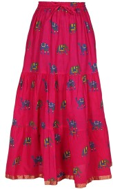 Amore@Home Printed Women's Pencil Pink Skirt