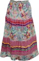 Indiatrendzs Printed Women's A-line Pink, White Skirt