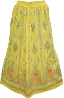 Indiatrendzs Embellished Women's A-line Yellow Skirt