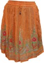 Indiatrendzs Printed Women's A-line Orange Skirt