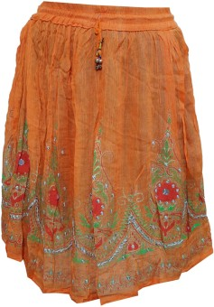 Indiatrendzs Printed Women's A-line Orange Skirt
