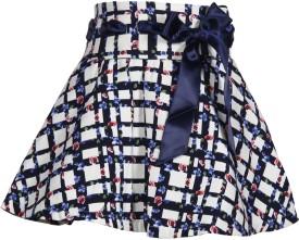 Cutecumber Checkered, Floral Print Girl's A-line Skirt
