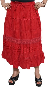 Indiatrendzs Solid Women's A-line Red Skirt