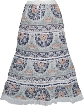 Indiatrendzs Floral Print Women's A-line Grey Skirt