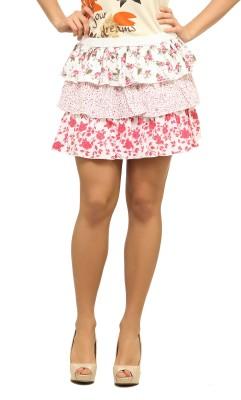 Ladybug Floral Print Womens Balloon Skirt
