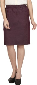 le luxe Solid Women's Straight Maroon Skirt