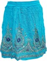 Indiatrendzs Embellished Women's A-line Light Blue Skirt