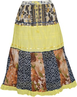 Indiatrendzs Printed Women's A-line Yellow Skirt