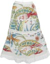 Indiatrendzs Printed Women's A-line White Skirt