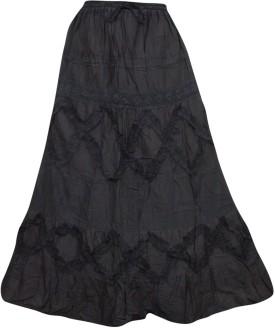 Indiatrendzs Solid Women's Regular Brown Skirt