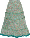 Indiatrendzs Floral Print Women's A-line Light Green Skirt