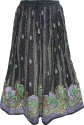 Indiatrendzs Printed Women's A-line Black Skirt