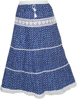 Indiatrendzs Printed Women's Regular Blue Skirt