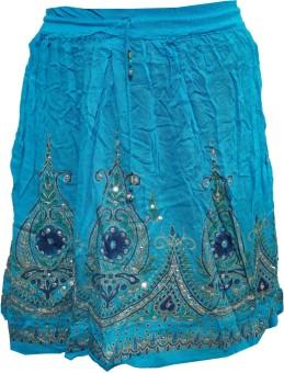 Indiatrendzs Printed Women's A-line Light Blue Skirt