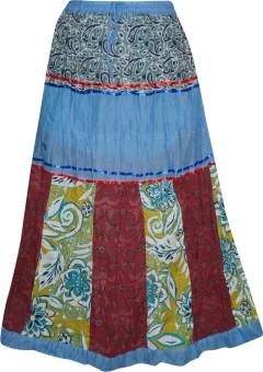 Indiatrendzs Floral Print Women's A-line Blue Skirt