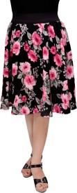 FabnFab Printed Women's Gathered Pink Skirt