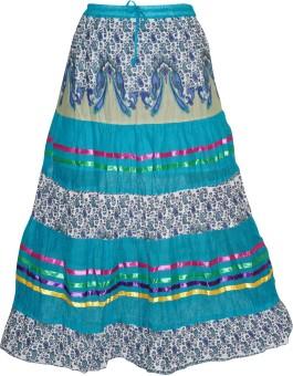 Indiatrendzs Floral Print Women's A-line Light Blue Skirt