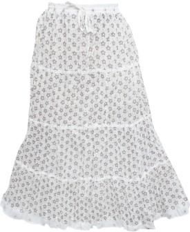 Indiatrendzs Floral Print Women's A-line White Skirt